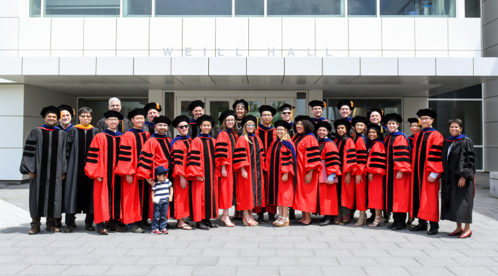 commencement 2019 PhDs group in front of weill hall
