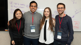 Marie Beatrix Kruth (3rd from left) and team microlisa at the MIT Hacking Medicine Competition