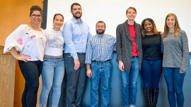 Sara Xayarath Hernández, Kara Guse, Eugene Law, Luca Maurer, Alexander LaCrampe, Chelsea Stephens and Gwendolyn Beacham, left to right, are pictured at the October 2019 Building Allyship Series event.