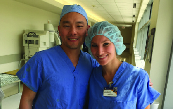 Melissa Mansfield, M.Eng. '15, with mentor Dr. Choi, shoulder surgeon at Guthrie Robert Packer Hospital.